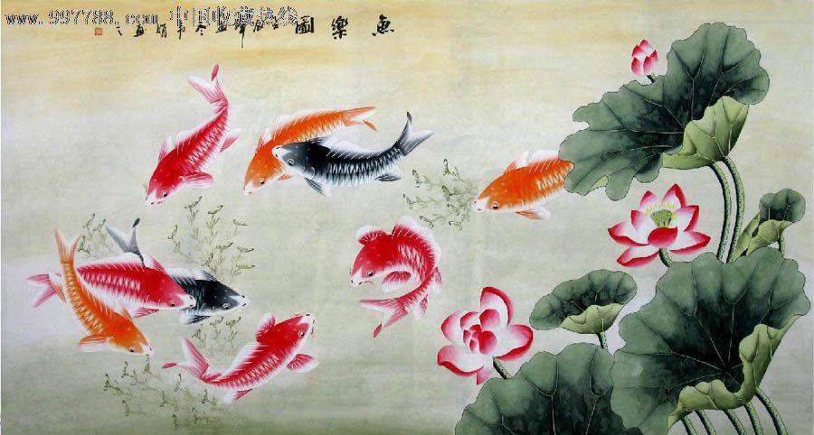 韦娟·六尺工笔九鱼图