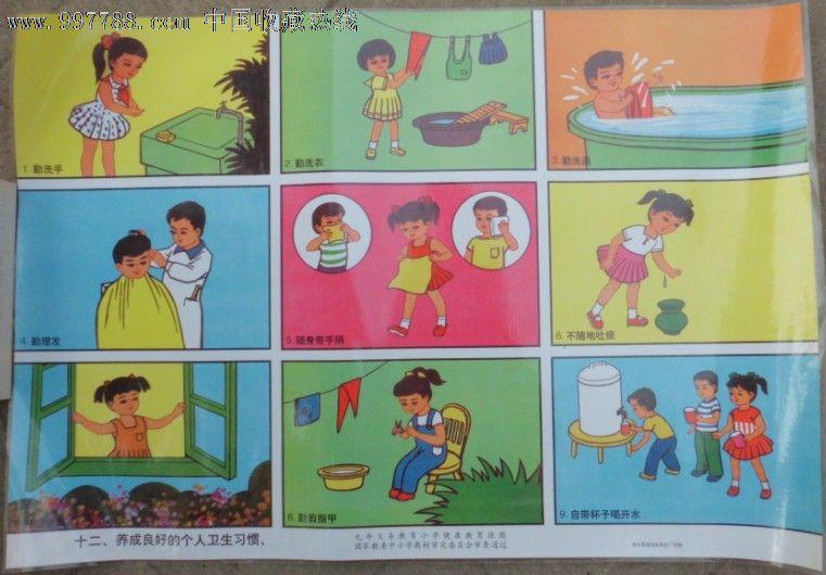 九年义务教育小学健康挂图-良好卫生习惯