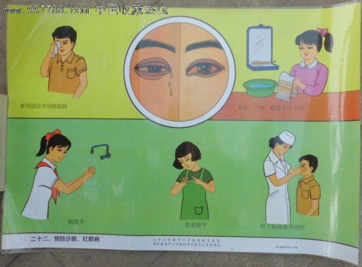 九年义务教育小学健康挂图-预防沙眼图片