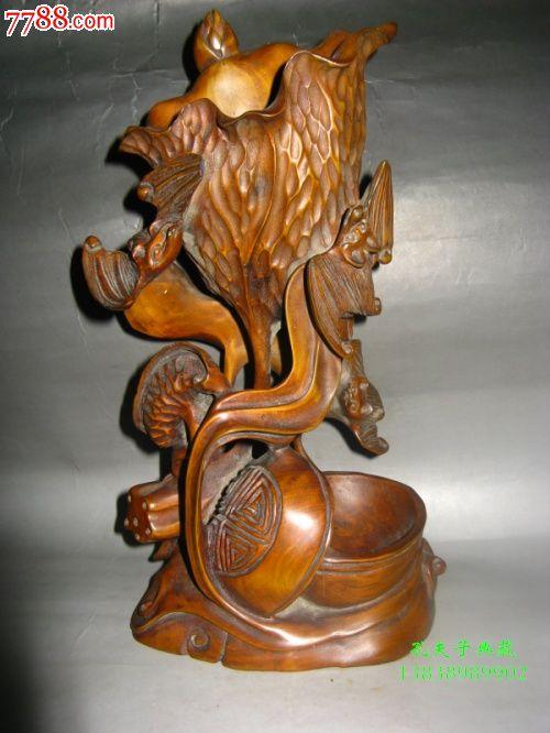 老木雕老木器老黄杨木笔筒镂空雕刻全手工福在眼前文玩