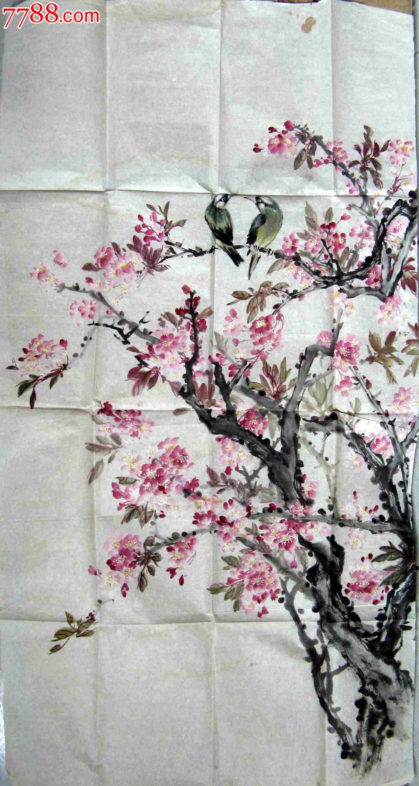 清秀明丽的三尺条幅无款桃花双鸟画