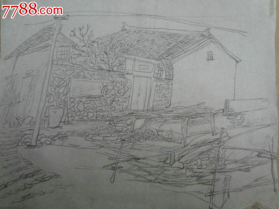 山水风景简笔画铅笔画