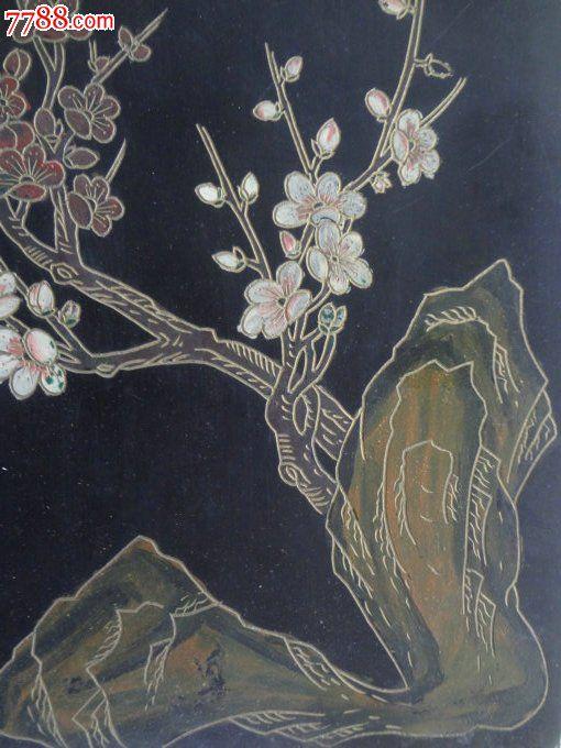 wpel-漆器老版画-经典大漆手绘花鸟木版画一块,喜鹊登