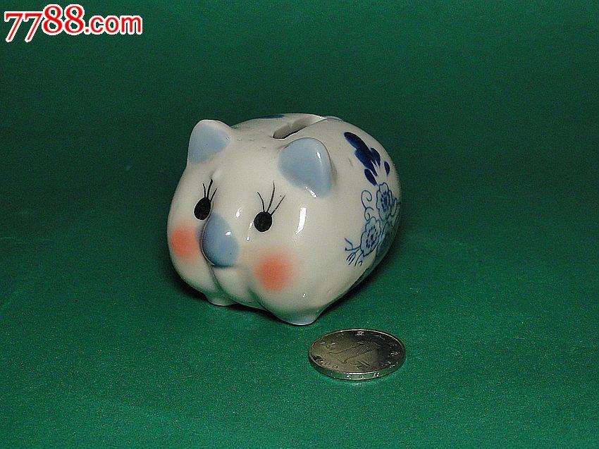 青花老瓷器小猪存钱罐储蓄罐扑满罕见