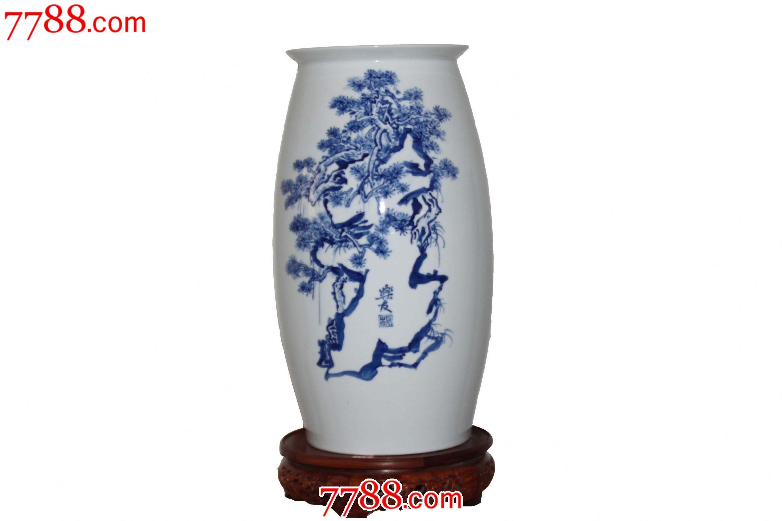 山水青花瓷瓶_价格8000元