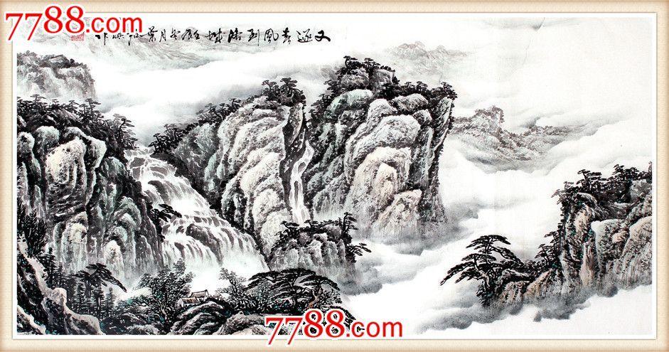 名家国画叶君淇山水画手绘客厅办公室酒店又逐春风到洛城