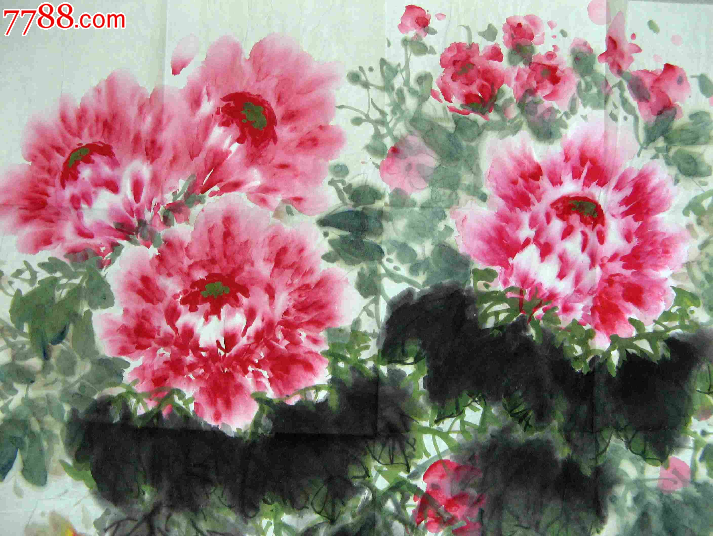 北京画家四尺斗方牡丹画:春色无限