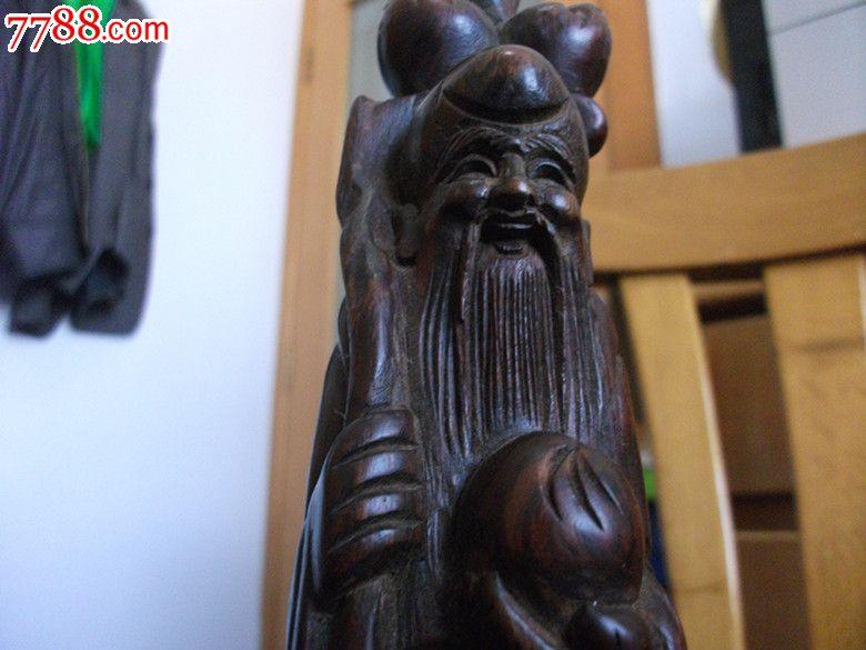 红酸枝木雕寿星摆件