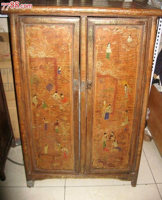 大漆描金人物明式双门柜子一对图片