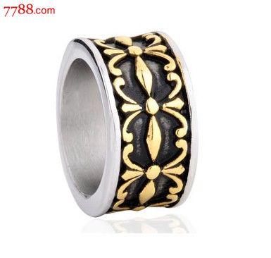 复古十字军宽克罗心花纹男士戒子钛钢戒指包邮
