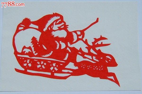 山东剪纸,圣诞老人,雪撬-剪纸/窗花--se17747160
