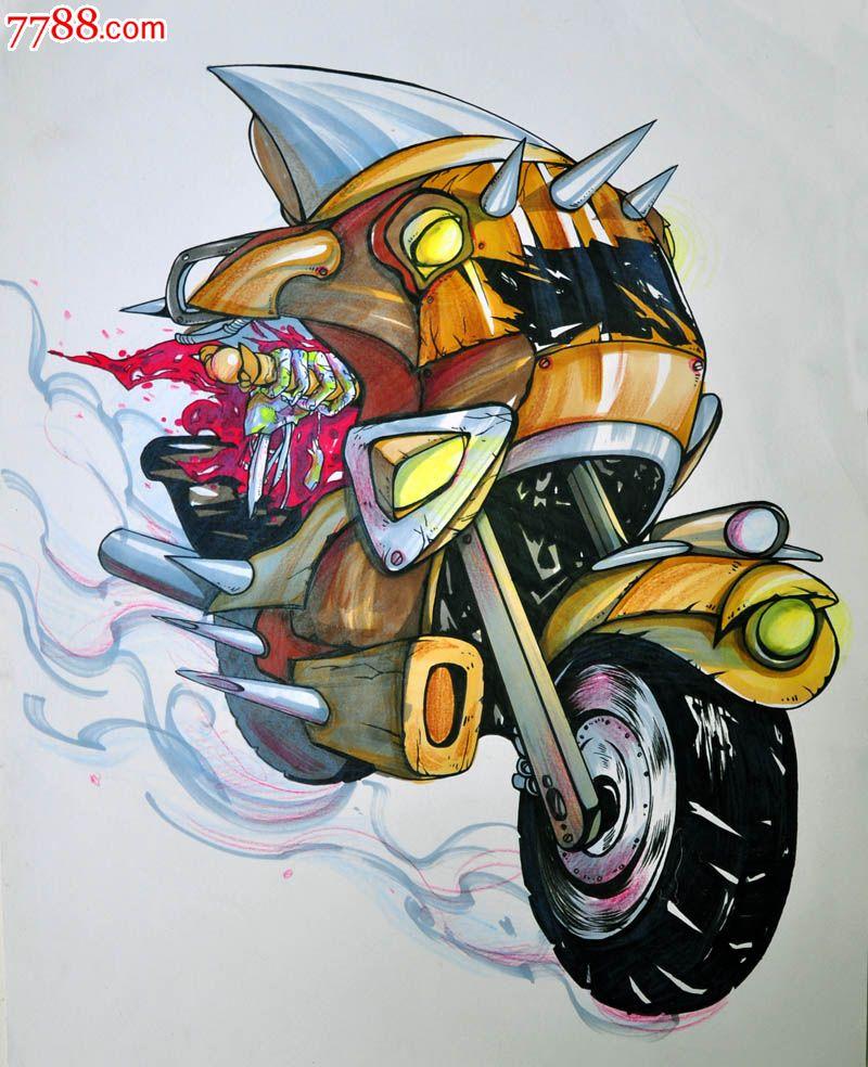 原创手绘漫画—摩托车