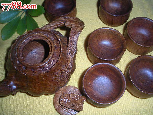 缅甸花梨木雕茶具七件套