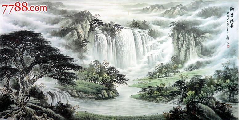 山水画风水画聚宝盆国画山水画范生辉八尺山水源远流长