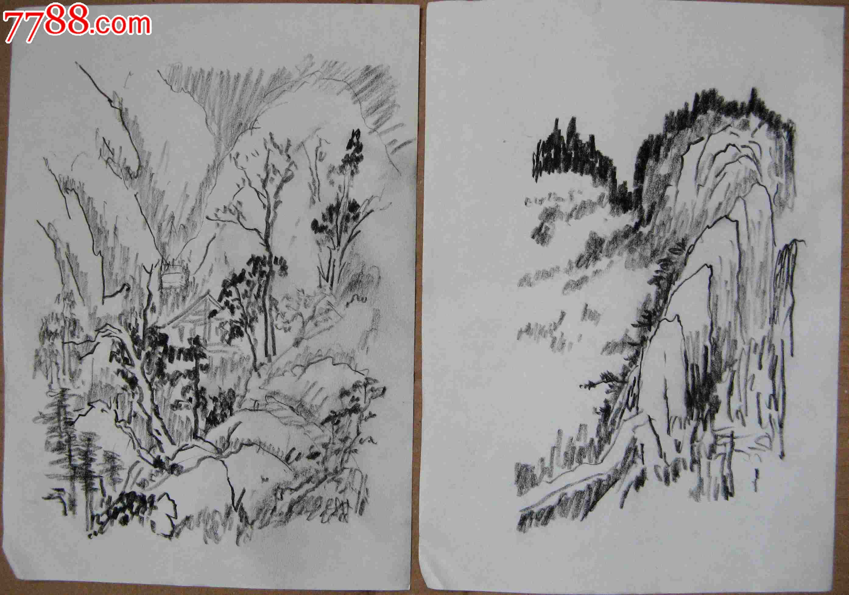 简单素描山水风景画图片大全;