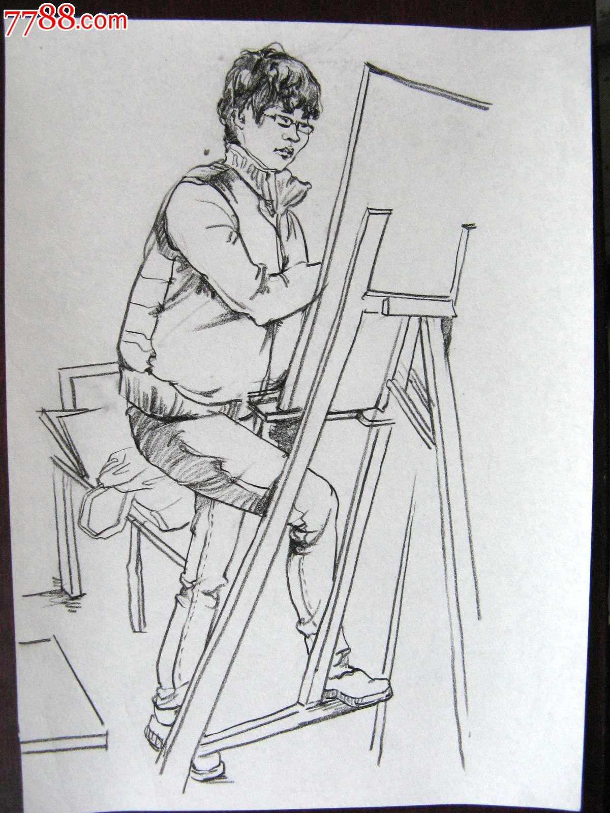 素描人物画:写生男孩