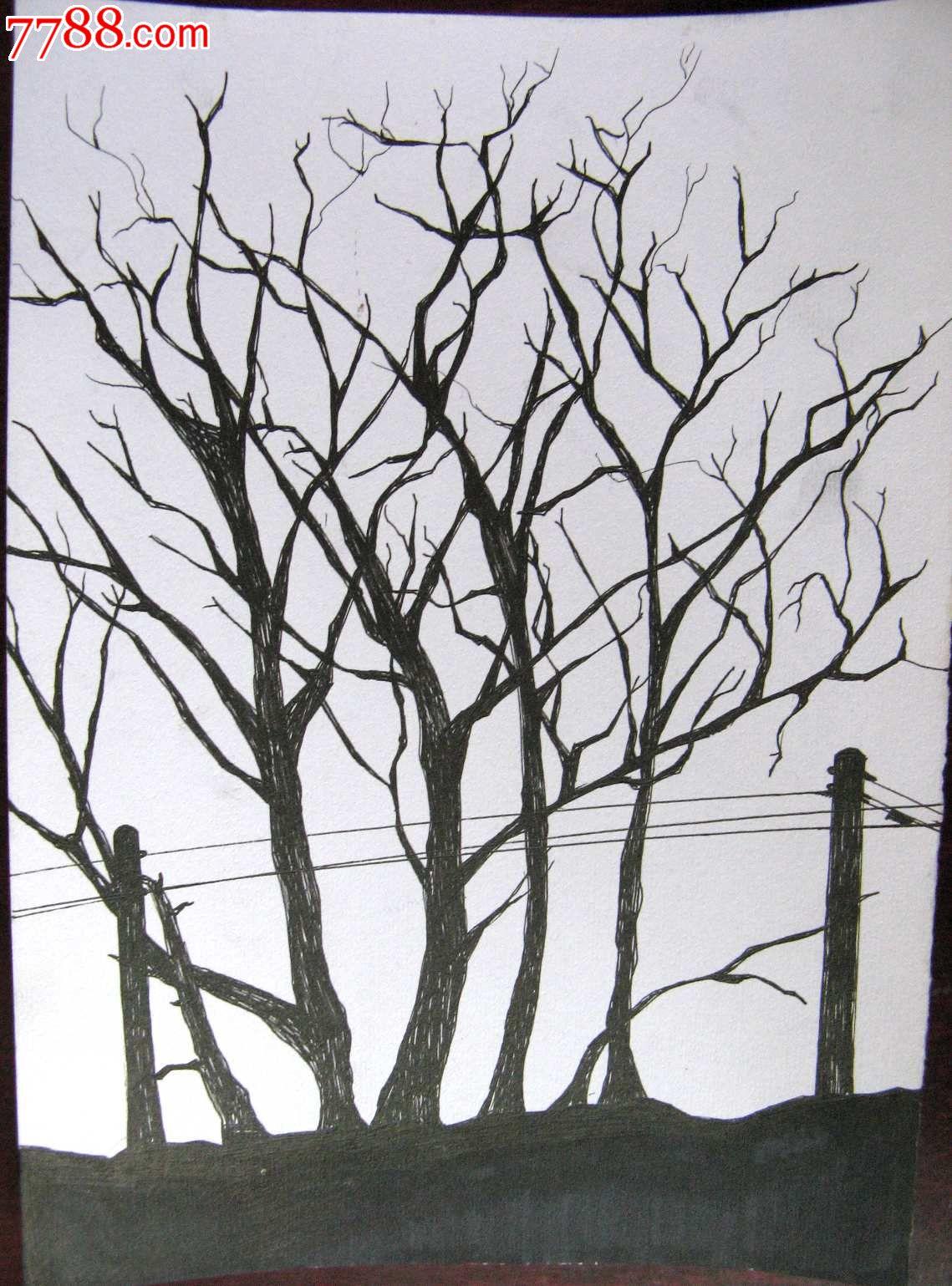 素描风景画:树影