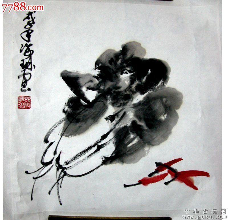 白菜辣椒35cmx35cm-花鸟国画原作--se18504517-零售