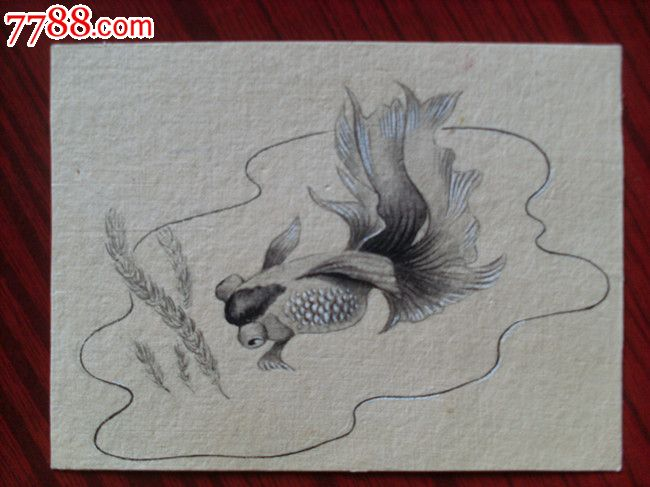六十年代,美术信封金鱼手绘原稿4副一组-价格:1280元-se18603629-设计