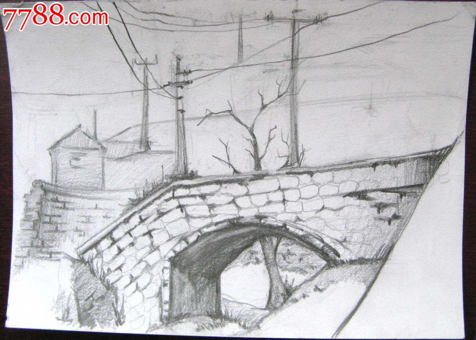 素描风景建筑画:小桥洞