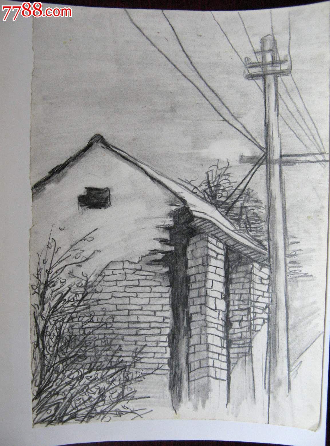 素描风景建筑画:房屋与线杆图片