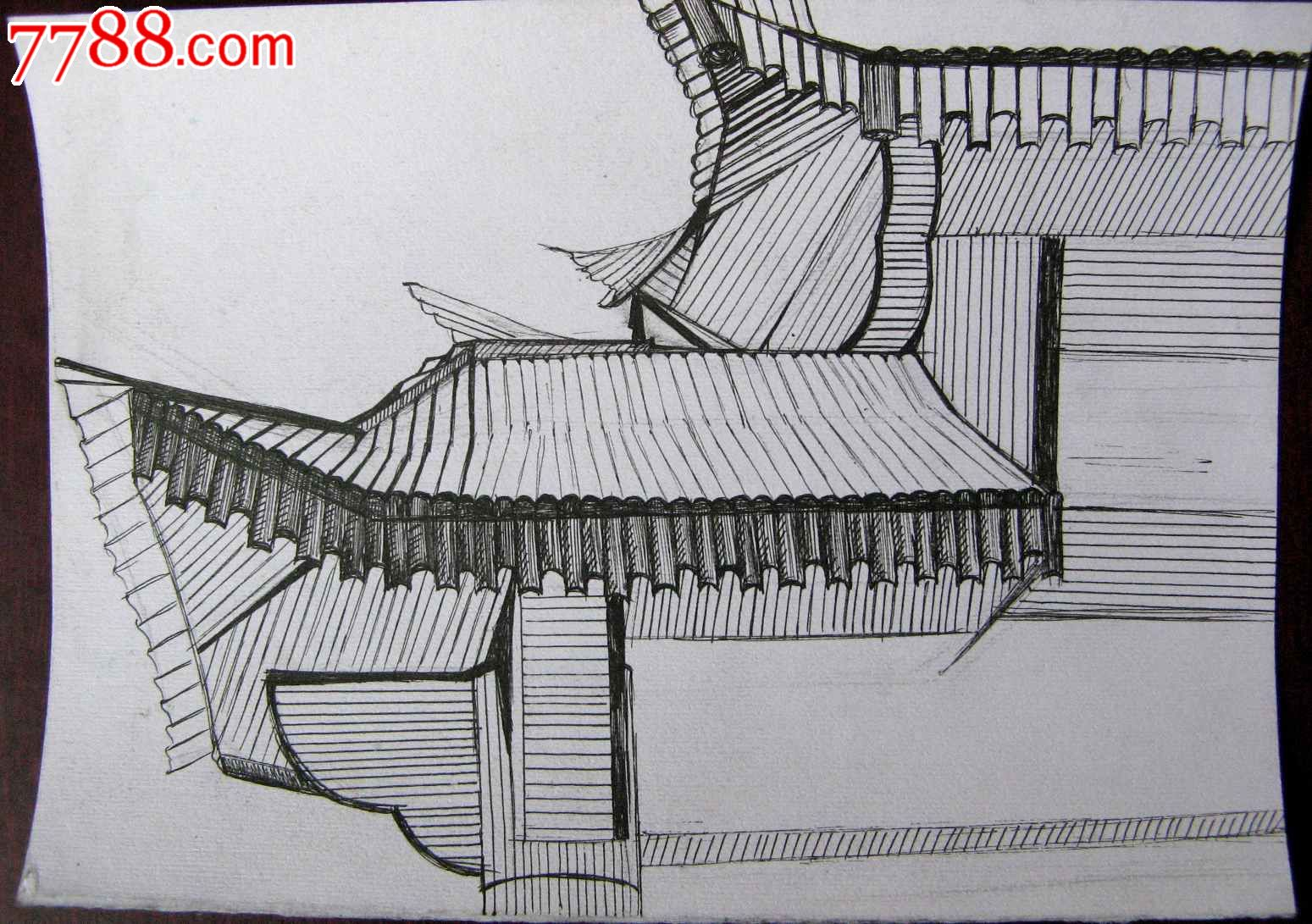 素描风景建筑画:飞檐-素描/速写--se18651710-零售
