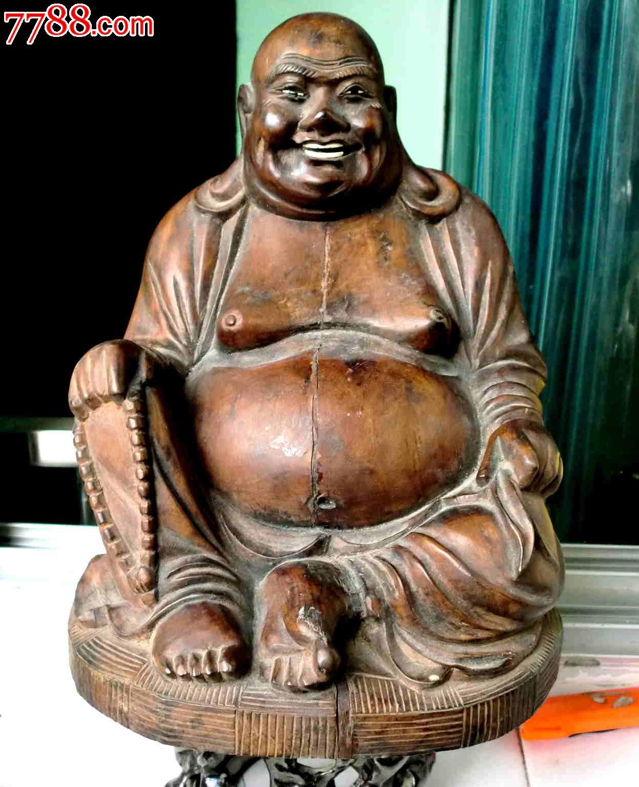 民国《整红木类笑脸弥勒佛》一尊硕大尺寸高25cm直径19cm重8斤左右