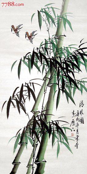 刘奎·三尺写意竹子,花鸟国画原作,竹木画原画,水墨/写意画法,21世纪1图片