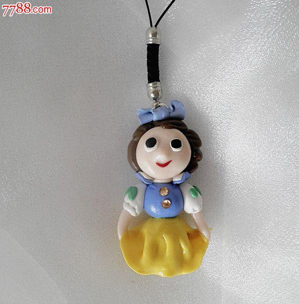 迪士尼q版可爱白雪公主手机链挂件手工软陶手机饰品可