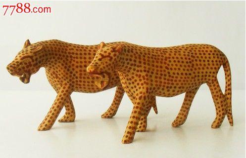 非洲木雕猎豹长18厘米高10厘米