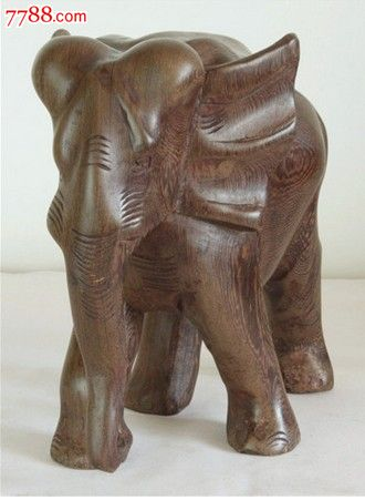红木缅甸黑檀木大象木雕工艺品摆件21.5cm