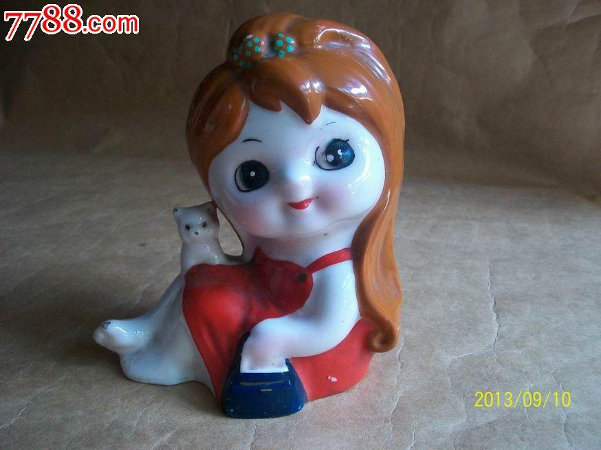 瓷娃娃存钱罐(小女孩和猫)