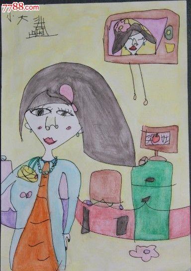 人物,,2010-2019年,,8开,,未装裱,,普通白纸, 简介: 这是水溶彩铅画
