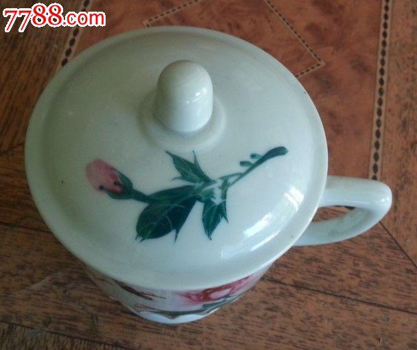 特价彩色手绘花鸟图茶杯水杯一个包老全品稀少原盖手执杯