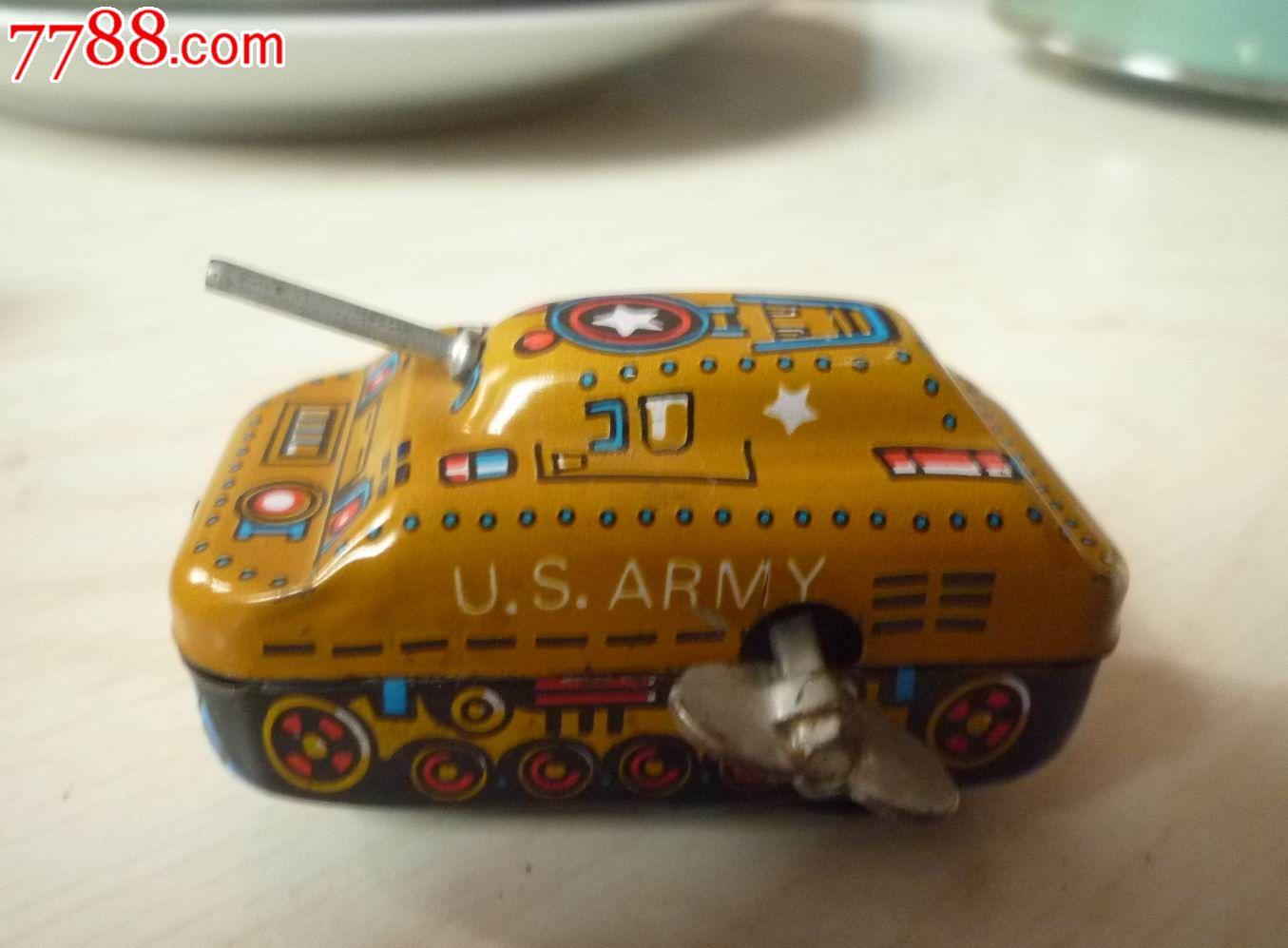 经典的黄色小�9`��l$yi���oy�z`���-��_怀旧经典收藏文革ms262黄色迷你铁皮发条小坦克玩具