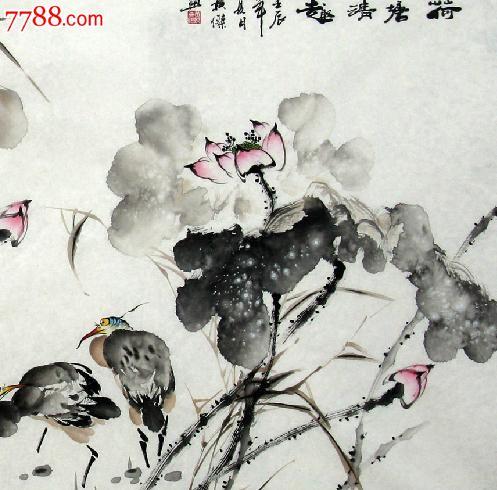 纯手绘国画字画水墨画黄杰花鸟四尺写意荷花荷塘清趣2012-6-3-16