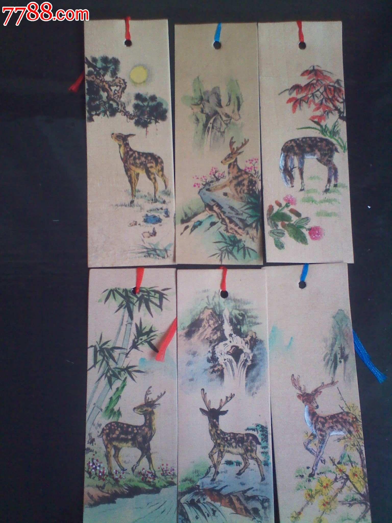 平面书签,产地不详,绢,长方形,套件 简介: 国画动物丝绸彩绘书签,制作