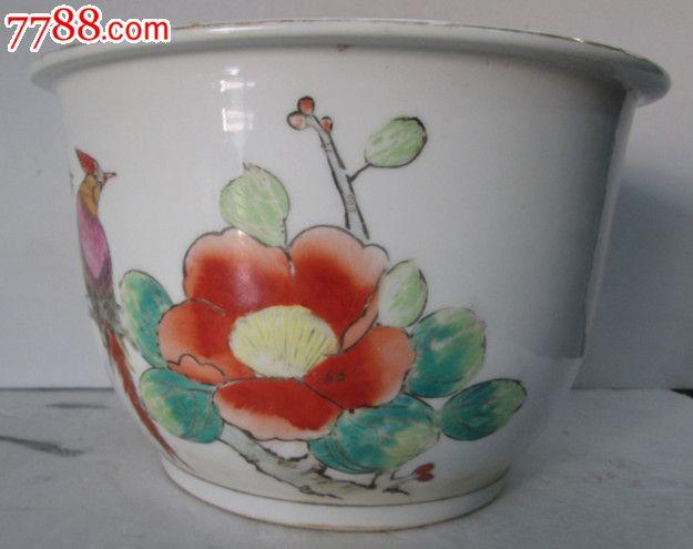 八五年手绘粉彩花盆