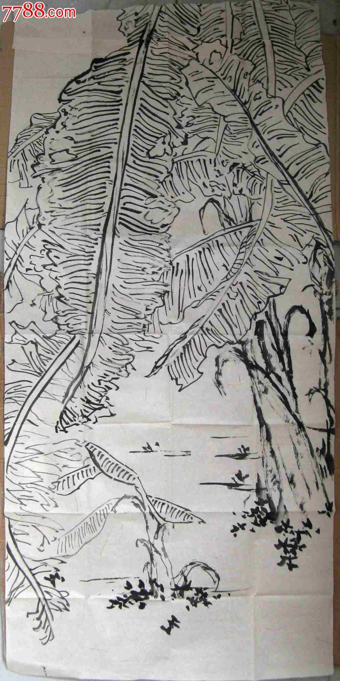 清幽雅致的四尺条幅无款芭蕉树画:晴日蕉荫