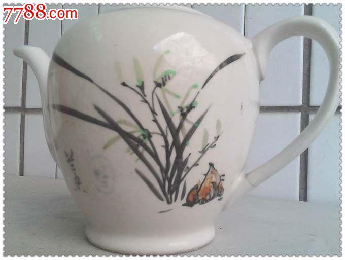 雅致的文革手绘兰花纹瓷壶