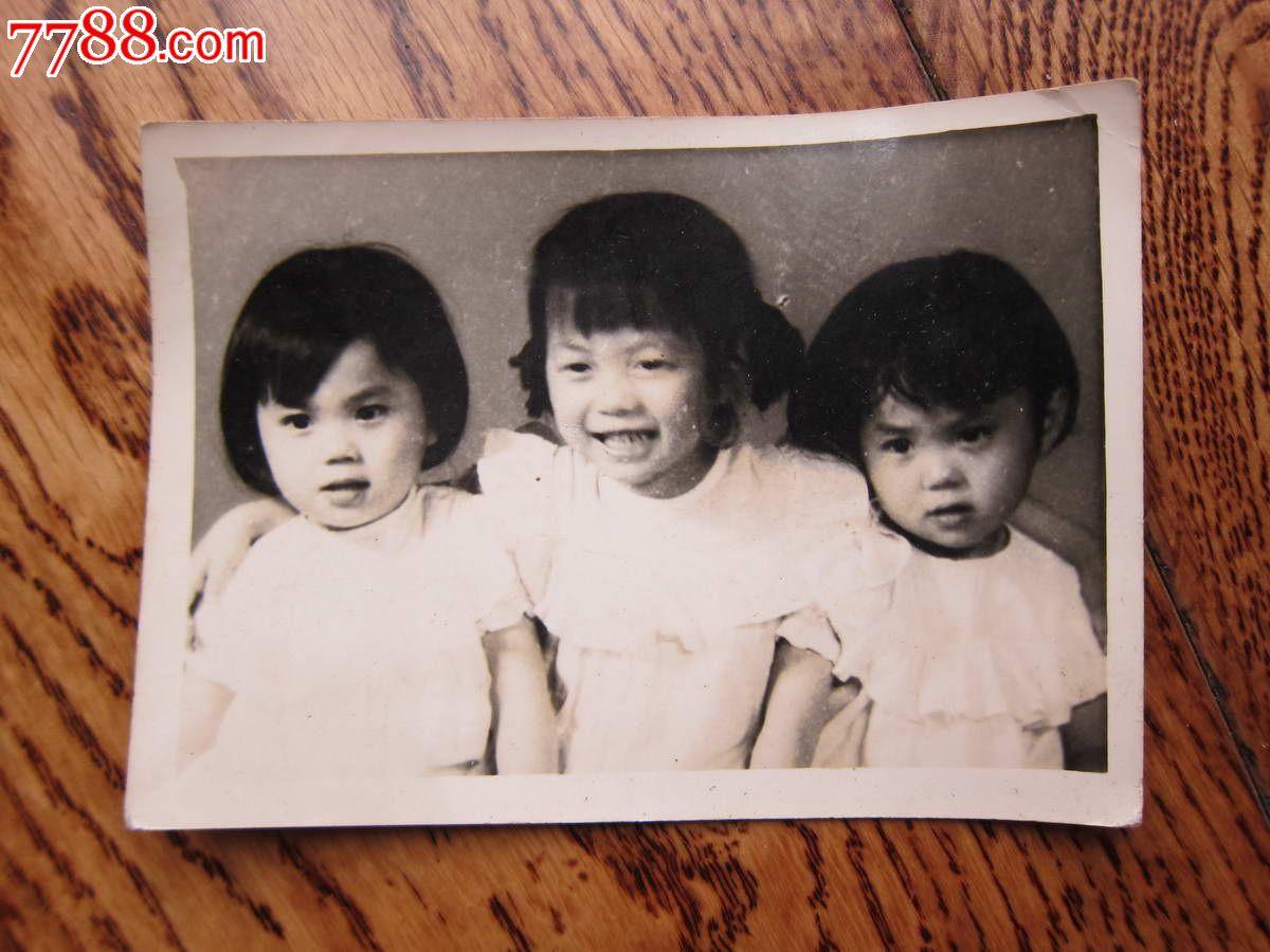 60年代可爱的三姐妹合影照片