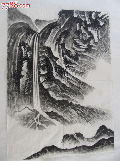 精品手绘国画山水画稿