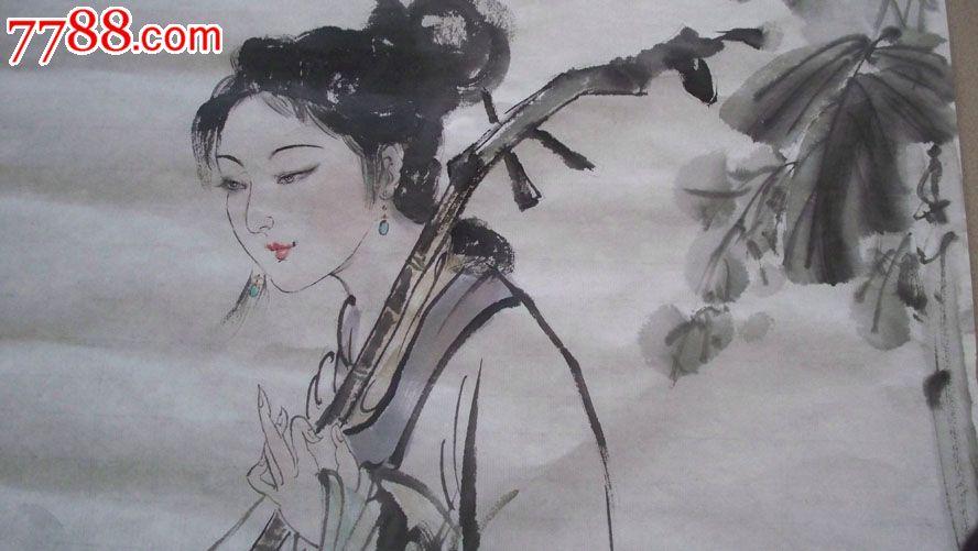 古代美女水墨人物画 人物国画原作-水墨美女图 兰草水墨图