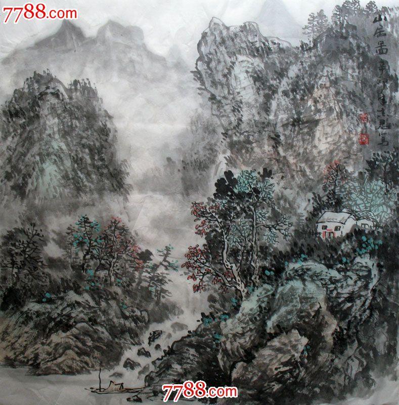 字画保真国画水墨斗方山水画黄志君手绘真迹山居图x50699图片