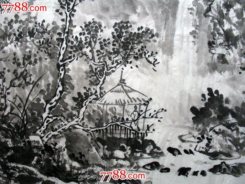 字画保真国画水墨斗方山水画省级美协黄志君手绘真迹x50706