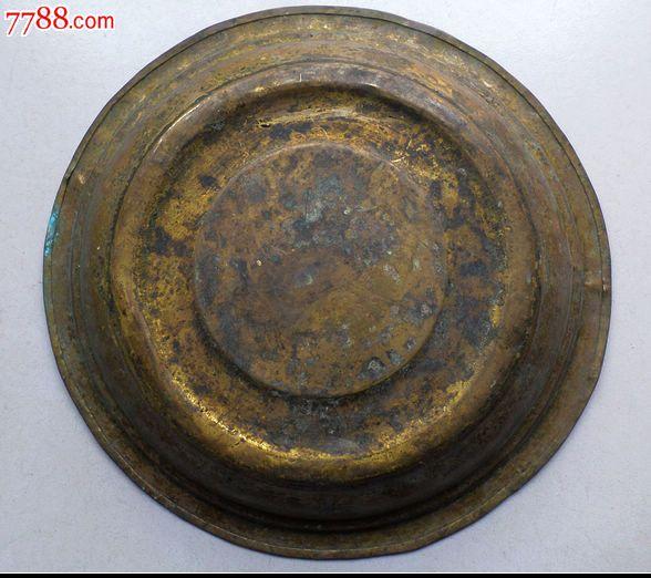 清代铜鎏金盆錾刻好花纹