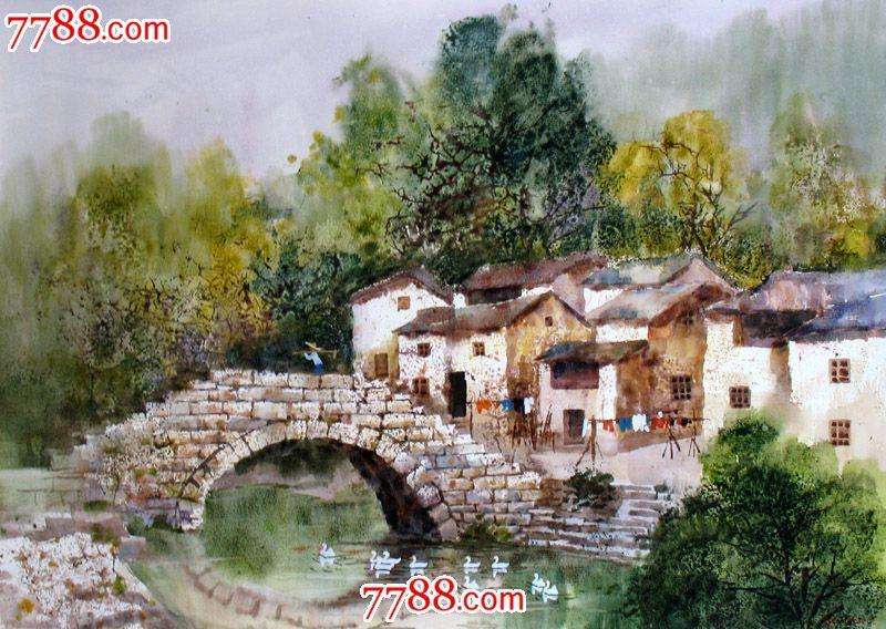 名家作品武朝利水彩画风景画写实乡村小桥收藏送礼