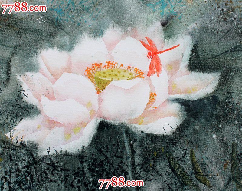【国画字画】名家武朝利水彩画风景画红蜻蜓装饰送礼wzl015