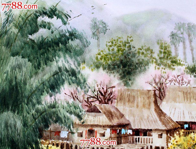【国画字画】名家武朝利水彩画风景画傣家风光装饰送礼wzl016