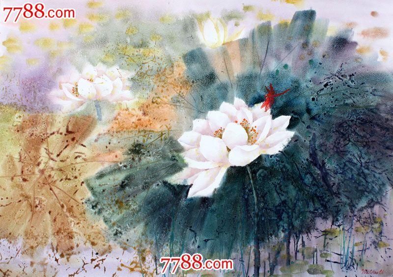 【国画字画】名家武朝利水彩画风景画荷花蜻蜓装饰送礼wzl018